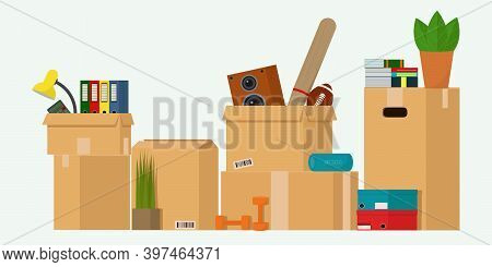 Boxes with things for moving to a new home. Cardboard boxes with things. Vector illustration in flat style