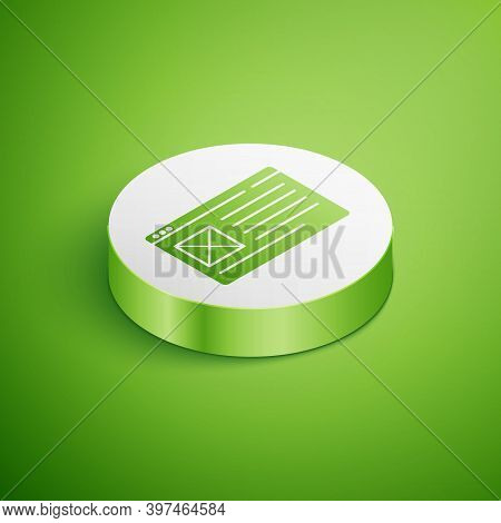 Isometric Browser Window Icon Isolated On Green Background. White Circle Button. Vector