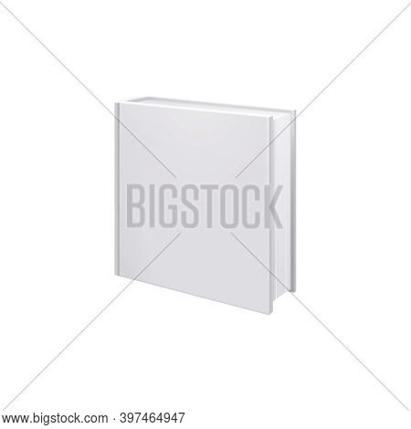 Books Albums Mockup Realistic Composition With Image Of Square Album Isolated On Blank Background Ve