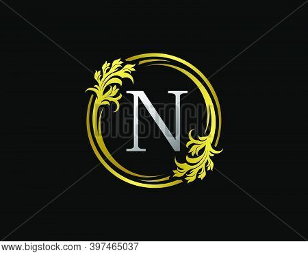 Luxury Circle N Letter Floral Logo. Royal Gold N Swirl Vector Icon.