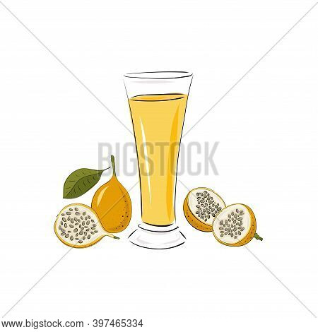 Glass With Passion Fruit Granadilla Juice, A Whole And Slices. Smoothies On A White Background. Beve