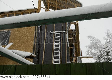 Walls Insulation, Outdoor Shot Of Unfinished Building, Winter Scene
