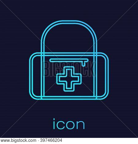 Turquoise Line First Aid Kit Icon Isolated On Blue Background. Medical Box With Cross. Medical Equip