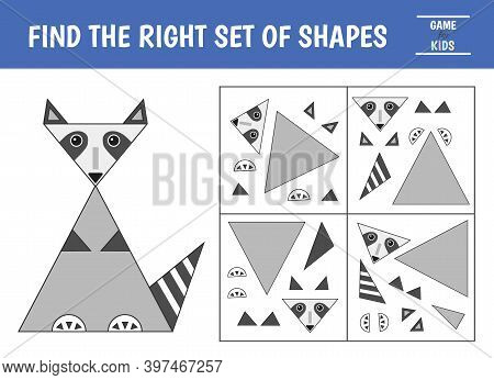 Educational Game For Kids. Geometrical Figure Raccoon. Find The Correct Block With Geometric Shapes.