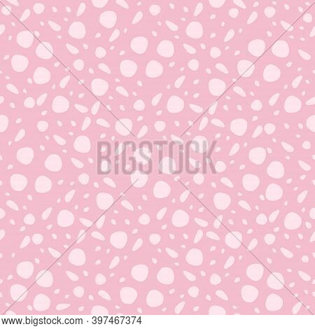 Vector Seamless Pattern. Endless Texture. Cute Pink Dotted Ornament.