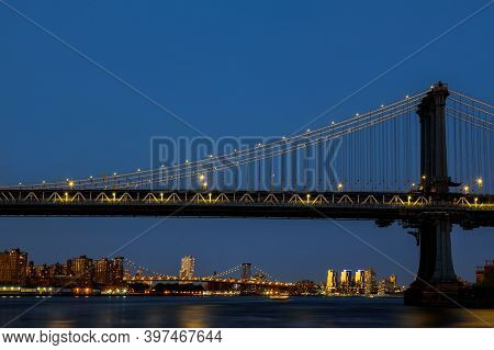Aerial View Style New York City Beautiful With Manhattan Bridge As Seen From Manhattan Skyline At Ni
