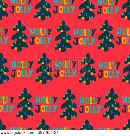 Christmas Seamless Pattern. Hand Drawn Fir Trees, Holly Jolly Lettering On Light Blue Background. Ch
