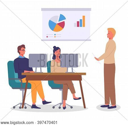 Conference, Business Meeting, Group Of Workers Discussing Project, New Financial Plan, Using Compute