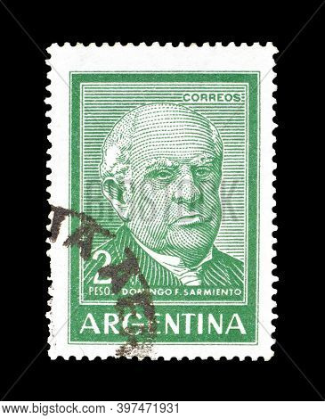 Argentina - Circa 1962: Cancelled Postage Stamp Printed By Argentina, That Shows Domingo Faustino Sa