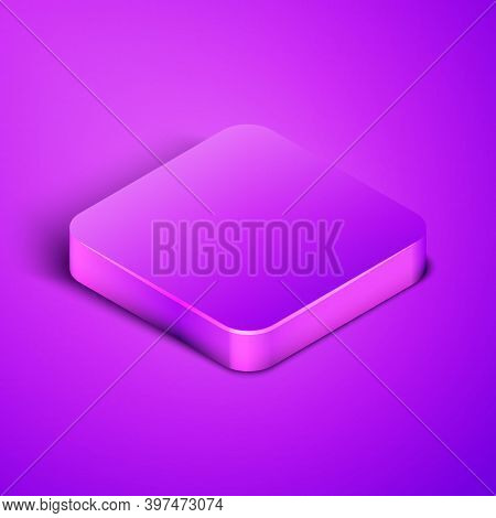Isometric Line Scented Spa Stick On A Wooden Stand Icon Isolated On Purple Background. Incense Stick