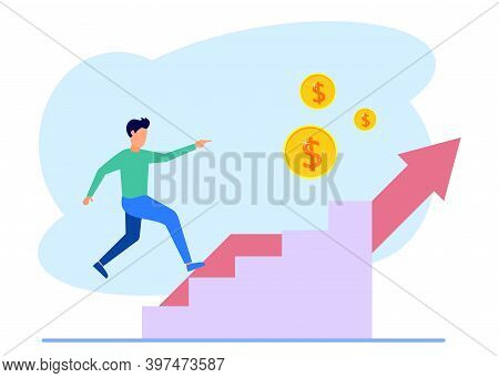 Vector Illustration Of A Business Concept. Profits Increase. Sales Growth Concept. Career To Success