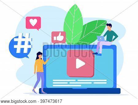 Digital Concept Vector Illustration, Online Influencer. Promotion Of Social Networks, Video Videos C