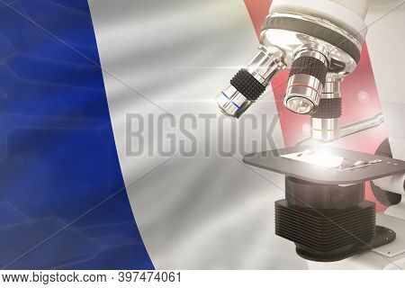 France Science Development Concept - Microscope On Flag Background. Research In Pharmaceutical Indus