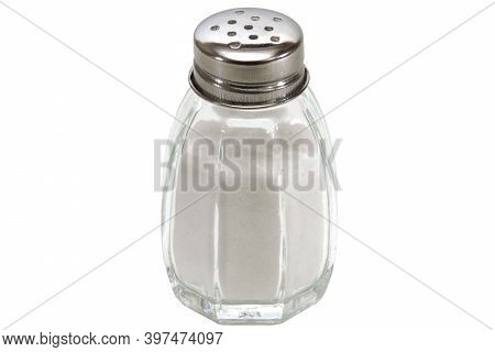 Glass Salt Shaker Isolated On White Background. The Is Black White Space For Text.