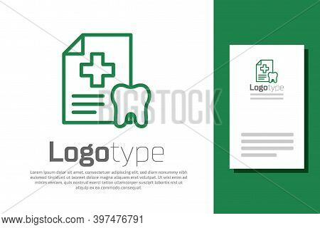 Green Line Clipboard With Dental Card Or Patient Medical Records Icon Isolated On White Background.