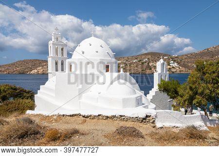 Chora, Ios Island- 22 September 2020: View Of The Agia Irini, Saint Irene, Greek Orthodox Church, Tr