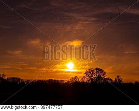 Orange Sunny Sunset On The Cloudy Sky. Cloudy Horizon. Sunset On The Horizon. Morning Dawn. Orange M