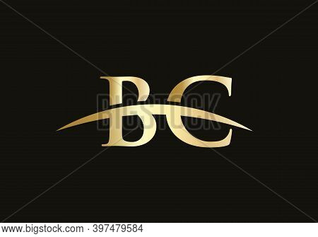 Bc Logo Design. Creative And Minimalist Letter Bc Logo Design With Water Wave Concept.