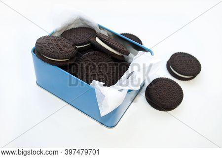 Sandwich Cookies With Vanilla Cream In A Metal Box. Gluten Free Corn Biscuits, Black. Healthy Food C