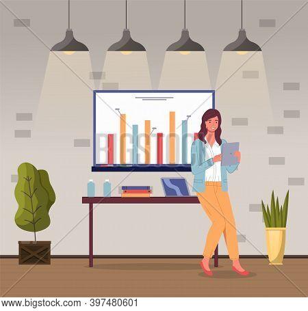 Presentation, Woman Show Financial Plan At Board, Using Digital Tablet, Strategy, Graphics, Charts,
