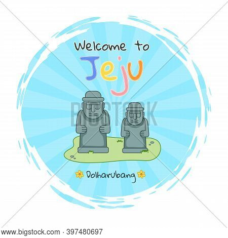 Dolharubang Statue, Welcome To Jeju Sticker, Image For Print, Traditional Symbol Of Jeju Island In S