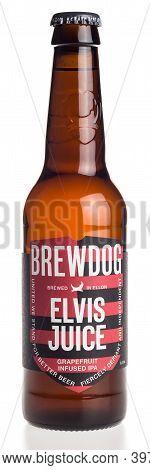 Groningen, Netherlands - November 28, 2020: Bottle Of Scottish Brewdog Elvis Juice Beer Isolated On