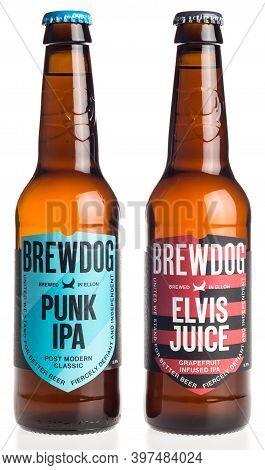 Groningen, Netherlands - November 28, 2020: Bottles Of Scottish Brewdog Punk Ipa And Elvis Juice Bee