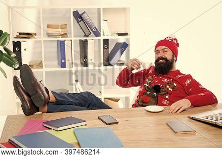Give Yourself A Break. Bearded Man Drink Coffee. Coffee Break. Employer In Winter Fashion Enjoy Rest
