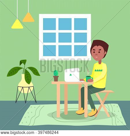 Black Man With Hot Coffee On Table Sitting And Using Laptop. Quarantine Distance Work. Freelance Wor