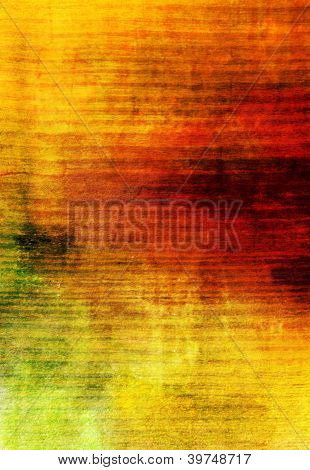 Abstract textured background: red brown and green patterns on yellow backdrop. poster