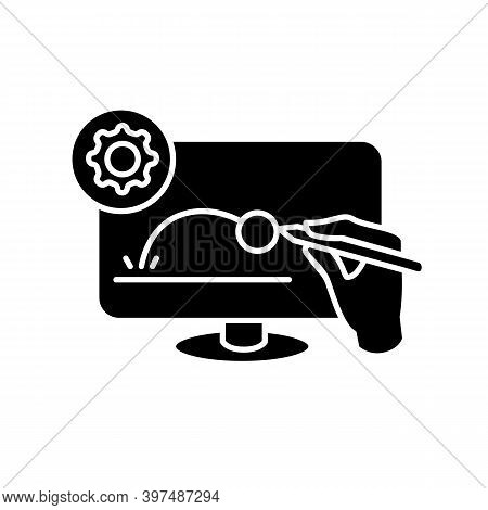 Animated Video Clip Glyph Icon. Filled Flat Sign Of Hand Drawing Animation Video Content On Computer
