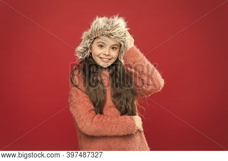 Feeling So Cozy. Child Long Hair Soft Hat. Winter Fashion Concept. Warm Hat For Cold Winter Weather.