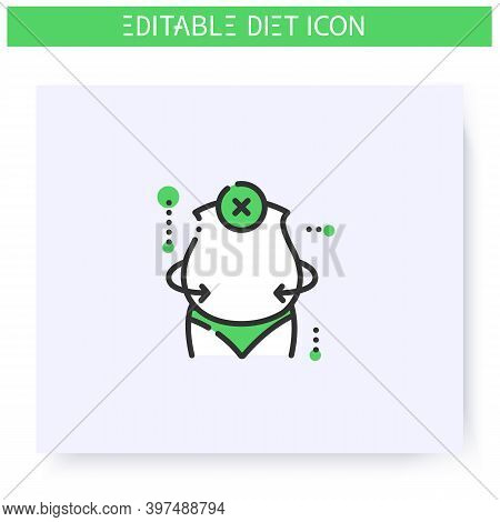 Unsuccessful Diet Line Icon. Overweight Body. Wrong Nutrition. Ineffectual Diet. Before Diet. Weight