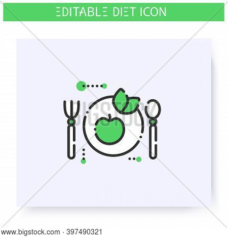 Vegan Diet Line Icon. Ketogenic Low Carb Diet. Weight Loss. Portion Control. Healthy Eating. Dietary