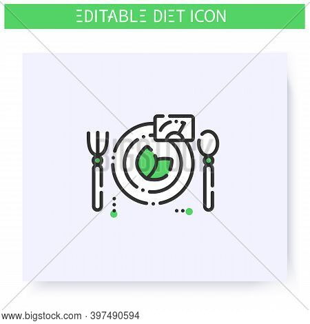 Diet Line Icon. Dietary Nutrition. Calorie Count. Slimming Concept. Serving Size. Diet. Weight Loss.