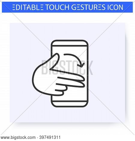 Flick Finger Hand Gesture Line Icon. Swipe Right. Multitouch Gestures For Smartphone Use.touchscreen