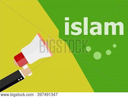 Islam, Hand Holding A Megaphone. Flat Style