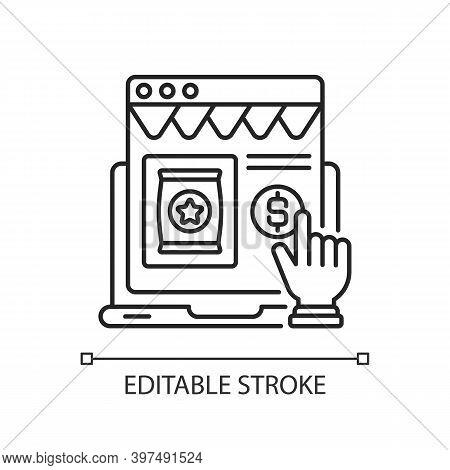 Ecommerce Linear Icon. Internet Shopping, Digital Marketplace Services Thin Line Customizable Illust