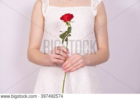 Girl In A Dress Holds One Red Rose In Her Hand On A White Background