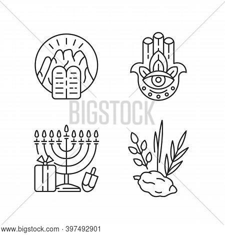 Judaism Beliefs Linear Icons Set. Stone Tablets. Hamsa Hand. Nine-branched Menorah. Four Species. Cu