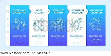 Workplace Safety Concerns Onboarding Vector Template. Restricted Visibility. Mechanical Problems. Re