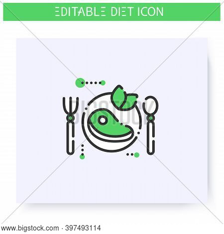 Paleo Diet Line Icon. Paleolithic Diet Type, Including Lean Meat. Weight Loss. Portion Control. Heal
