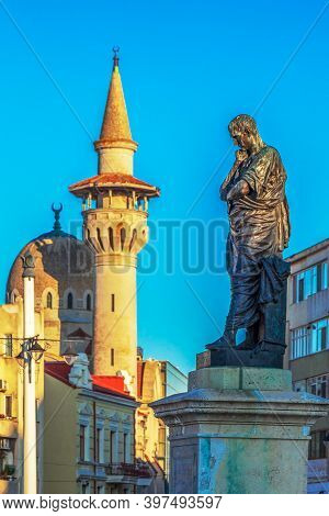 Constanta, Romania-july 15, 2020: The Statue Of Publius Ovidius Naso Who Was A Classical Latin Poet,