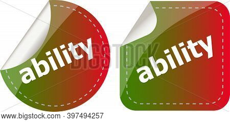 Ability Word Stickers Set Icon Button Isolated On White