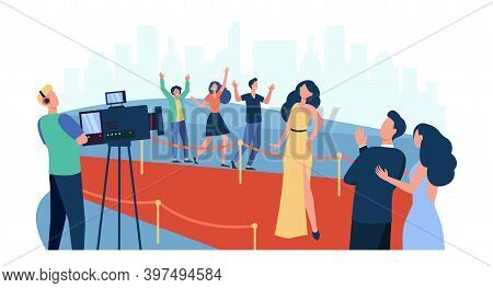 Celebrities Posing To Paparazzi And Walking Along Red Carpet Isolated Flat Vector Illustration. Cart