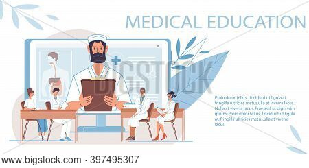 Cartoon Flat Doctor Characters And Nurses In Uniform, Laboratory Coats With Medical Devices-medic Te