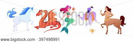 Cartoon Mythology Collection With Myth Fairy Tale Characters, Fantastic Beasts And Monsters, Mermaid