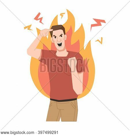 Aggressive Man Screams, Shows Gestures Of Rage, Burns With Anger, Fire Behind His Back. Vector Furio