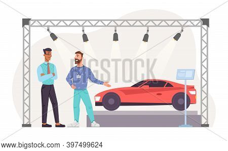 Expo Exhibition Stand, Concept Car, People Buyer And Promoter. Vector Showcase With Sport Vehicle, T