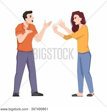 Young Couple Swear And Shout Isolated Screaming Wife And Husband. Vector Emotional Frustrated Irrita